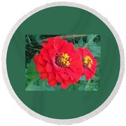 With Beauty As A Pure Red Rose Round Beach Towel