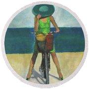 With Bike On The Beach Round Beach Towel