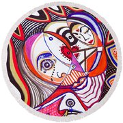 With Deep Thoughts And Tears - Iv Round Beach Towel
