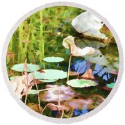 Withered Lotus In The Pond 2 Round Beach Towel