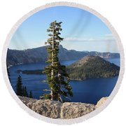 Wizard Island With Rock Fence At Crater Lake Round Beach Towel