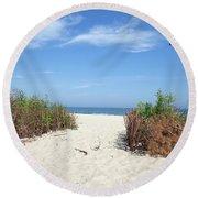 Wladyslawowo White Sand Beach At Baltic Sea Round Beach Towel