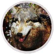 Wolf Art Version 8 Round Beach Towel