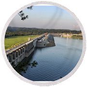 Wolf Creek Dam Round Beach Towel by Amber Flowers