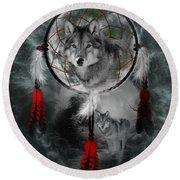 Wolf Dreamcatcher Round Beach Towel