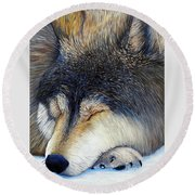 Wolf Dreams Round Beach Towel