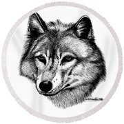 Wolf In Pencil Round Beach Towel