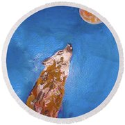 Wolf In The Night Round Beach Towel