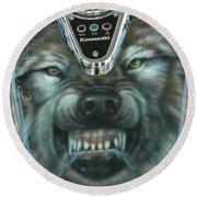 Wolf Motorcycle Gas Tank Round Beach Towel