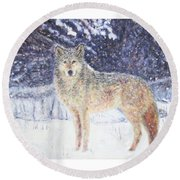 Wolf Of The North Round Beach Towel