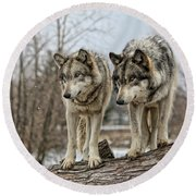 Wolf Pair Round Beach Towel