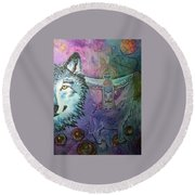 Wolf Protector Round Beach Towel