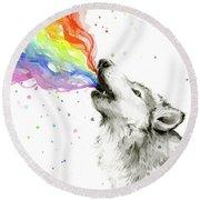 Wolf Rainbow Watercolor Round Beach Towel