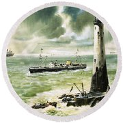 Wolf Rock Lighthouse At Land's End Round Beach Towel