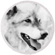 Wolf Smiling Black And White Round Beach Towel