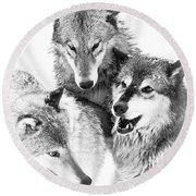 Wolf Triplets Round Beach Towel