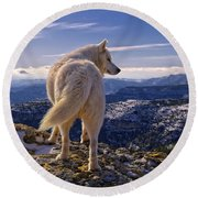 Wolf Round Beach Towel
