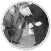 Wolfgang Pauli And Niels Bohr Round Beach Towel