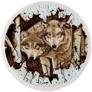 Wolves In Hiding Round Beach Towel