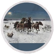 Wolves In Pursuit By Alfred Wierusz-kowalski 1849-1915 Round Beach Towel