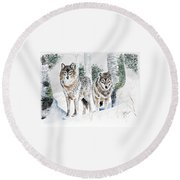Wolves In The Birch Trees  Round Beach Towel