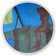 Woman After Bathing Round Beach Towel