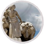 Woman And Bull, Marquis De Pombal Monument Round Beach Towel