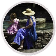 Woman And Child At Pond Round Beach Towel