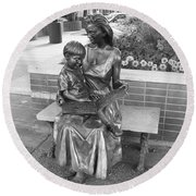 Woman And Child Sculpture Grand Junction Co Round Beach Towel