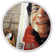 Woman And Dog Round Beach Towel
