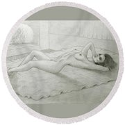 Woman And Fireplace Round Beach Towel