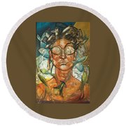 Woman And Fishes Round Beach Towel