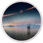 Woman And Girl Standing In Lake Watching Solar Eclipse Round Beach Towel