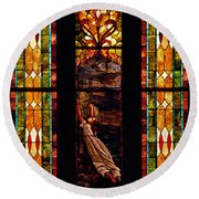 Woman And The Cross Round Beach Towel