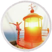 Woman At Nazare Lighthouse Round Beach Towel