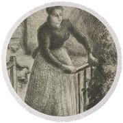 Woman At The Gate Round Beach Towel