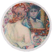 Woman At The Mirror  Round Beach Towel