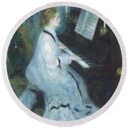 Woman At The Piano Round Beach Towel