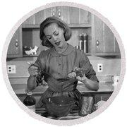 Woman Baking In Kitchen, C.1960s Round Beach Towel
