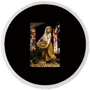 Woman Bearing Gifts For Jesus Our Savior Round Beach Towel