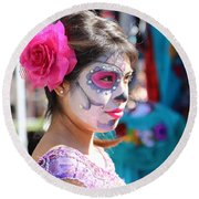 Woman Beautiful Day Of The Dead  Round Beach Towel