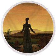 Woman Before The Rising Sun Woman Before The Setting Sun1818-20  By Caspar David Friedrich 1774 Round Beach Towel