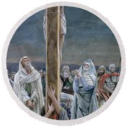 Woman Behold Thy Son Round Beach Towel
