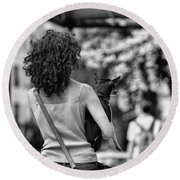 Woman Carry Dog Nyc Blk Wht  Round Beach Towel