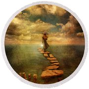 Woman Crossing The Sea On Stepping Stones Round Beach Towel by Jill Battaglia