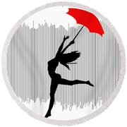 Woman Dancing In The Rain With Red Umbrella Round Beach Towel