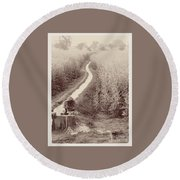 Woman Doing Laundry In Canal- Sepia Round Beach Towel