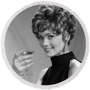 Woman Drinking Champagne, C.1960s Round Beach Towel