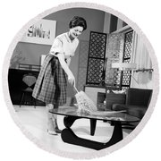 Woman Dusting, C.1950-60s Round Beach Towel