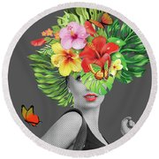 Woman Floral  Round Beach Towel